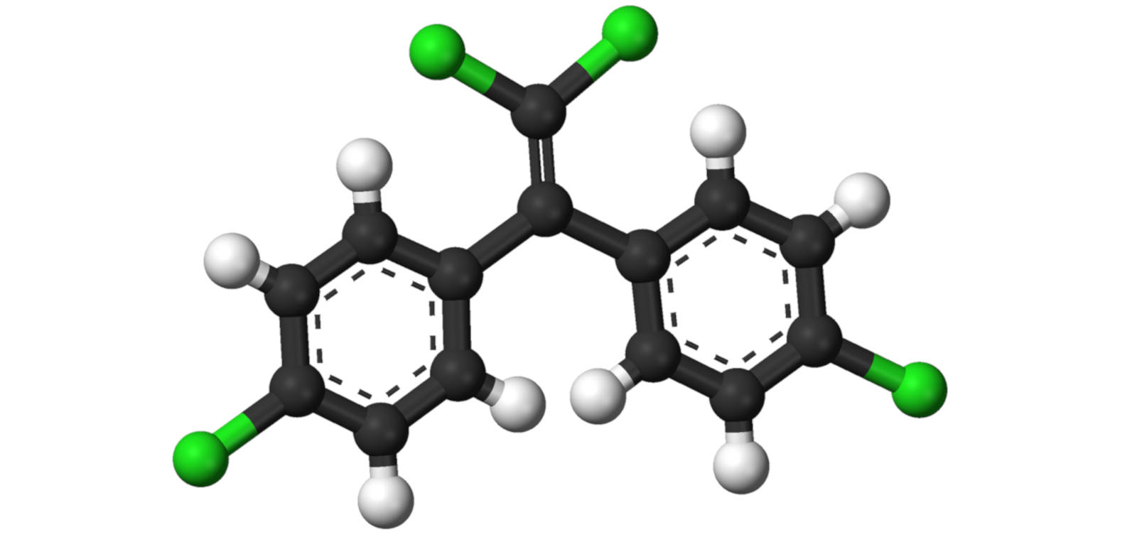 Ball-and-stick model of the DDE molecule