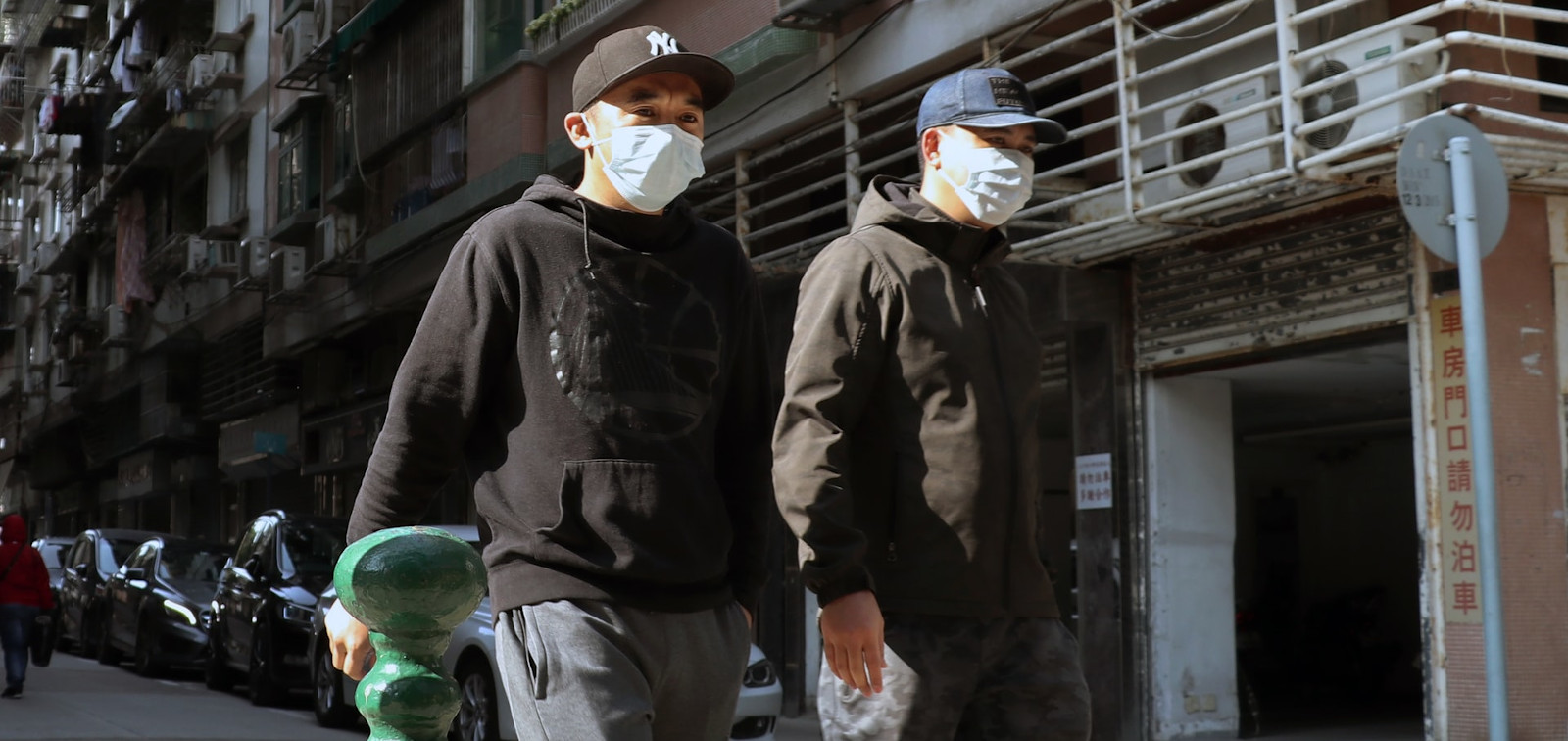 Men wearing mask due to coronavirus