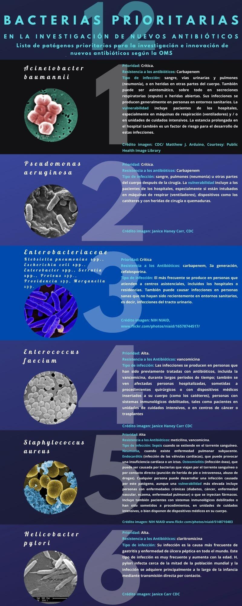 10 superbacterias relevantes para la investigación de nuevos antibióticos